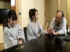 Asiatisch, Behaart, Hardcore, Japanische massage, Flotter dreier