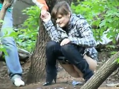Pissing Whore in Woods NASTY