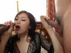 Asian threesome with double blowjob and pussy gaping