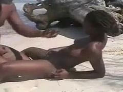 Black Amateur Couple on the Beach
