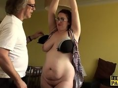 Chubby british slave gagged and doggystyled