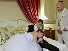 redhead bride has threesome before wedding