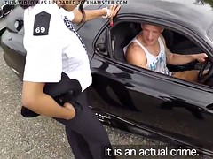 Bigtitted ebony cop spitroasted outdoors