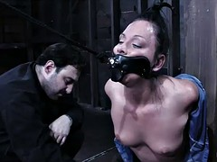 raunchy bdsm scene with brunette whore