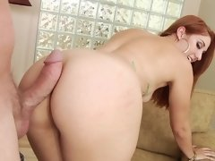 A redhead that enjoys cum in her mouth is having anal sex