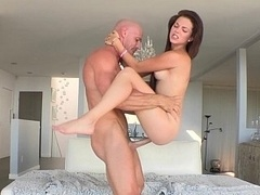 Skinny Kiera sliding on a sizeable cum cannon & taking facial