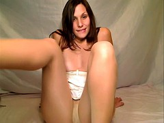 Pantyhose play getting them wet and creamy