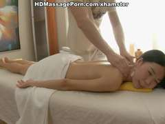 Young Asian has massage with plenty of grease and screams