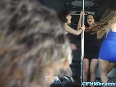CFNM femdoms cockride a sub guy in group