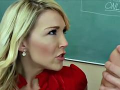 Stockinged blonde teacher Laura Bentley fucking