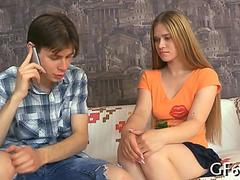 Doctor joins a teen couple in a hot threesome fuck fest