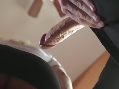 Hot blonde girl starts her work at the hotel and boss assists her