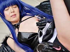 love live - cute japanese masturbating himself while doing a cosplay
