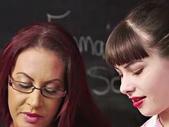 busty cfnm teacher shows teen how to tug sub