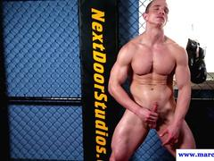 Ripped straight hunk jerks his cut cock