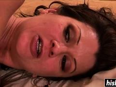 Brunette hottie has fun with a dick