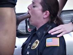 Femdom cop gags on black cock and gets fucked
