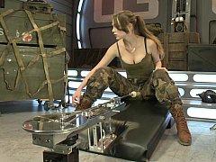 Strawberry blond soldier fucks machines