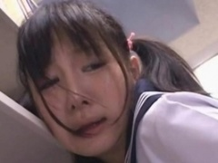 Oriental schoolgirl fuck hole teased in the library on camera