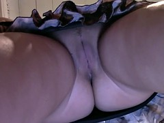 Horny babe gets recorded from an upskirt perspective