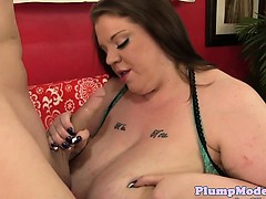 Tittyfucking BBW spreads her pussy for cock