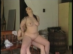 Plumpish black haired getting nailed