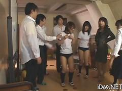 Schoolgirls from Japan brought to apartment for nasty sex