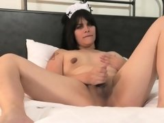 Maid lingeried femboy pulling her cock solo