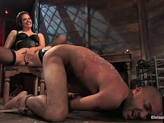 he gets spanked and whipped