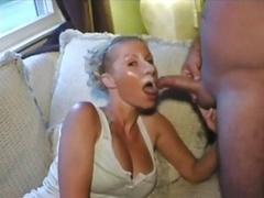 Blonde takes bulky facial cumshot, followed by gooey cum play