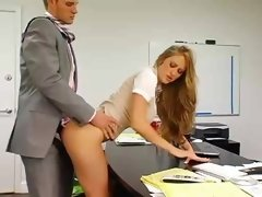 Breasty secretary gets bent over and furthermore fucked by her aroused boss