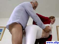 British unexperienced pussyfucked by an old mans stiff hard-on