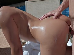mia li gets pounded doggystyle on the sunbed