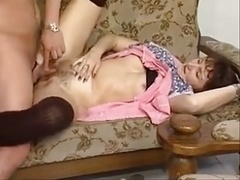 Hot slim mom with hairy pink slit and furthermore dude