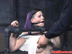 Bigtitted analy hooked slave gets pussy toyed