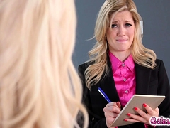 Elsa pleases her boss and makes her cum to assures her job