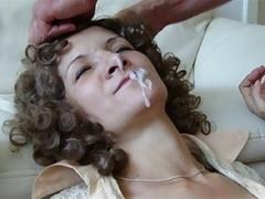 Wife takes deep throat, facial
