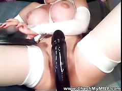 Fake melons mummy with ginormous fake penis in her donk