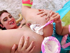 Enema lesbian toyed by dairy dildo beauty