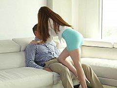 Sweet horny female harasses boyfriend for sex