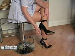 Hot naughty nurse in sexy stilettos gives out some special shoe fetish treatment