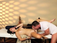 Pussylicked babe banged deeply by masseur