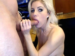 POV blowjob from a blonde babe girlfriend in homemade video
