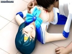 3D animated Asiatic kitten is getting poked, eating penis and getting groped