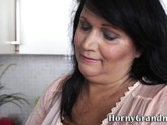 Busty granny has anal sex
