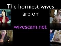 brunette wife in fishnets on cam