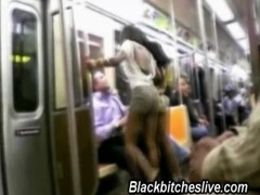 2 black hooker hoes acting straightforward on the train