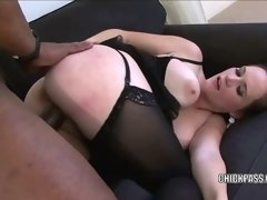 Busty brunette Joo Rin fucks and takes the cum on her tits