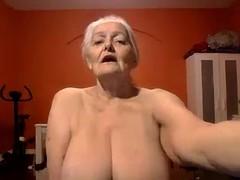 grandma shows off her nice big tits live