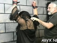 Naughty episode scene with beauty enduring pussy stimulation